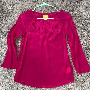 Maeve Hot Pink Top from Anthropologie 0 XS